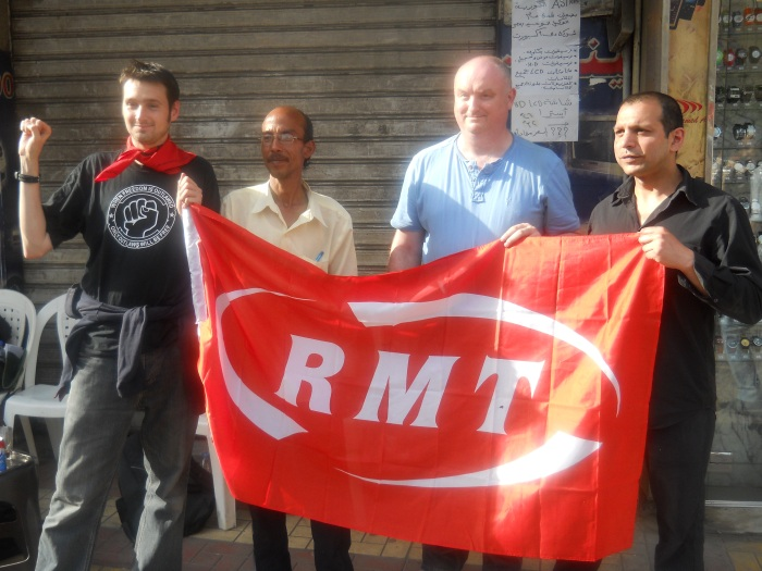 Unjum Mirza (right) and colleagues from the RMT met Mohamed Abd-al-Sattar from the Independent Union of Public Transport Authority Workers in Cairo, May 2011
