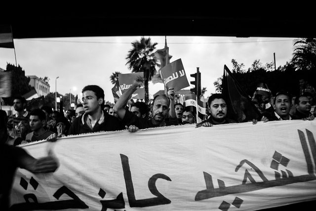 Egyptian protesters marched on the Presidential Palace, 4 December. Picture by Hossam el-Hamalawy