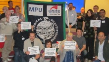 Members of the Medical Practitioners Union, part of Unite the Union, sending a solidarity message to their jailed Bahraini colleagues - 2 March 2013