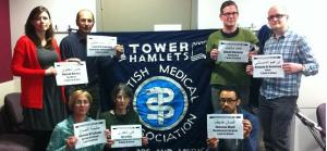 Tower Hamlet branch of the British Medical Association holding signs with the names of their imprisoned Bahraini colleagues - February 2013