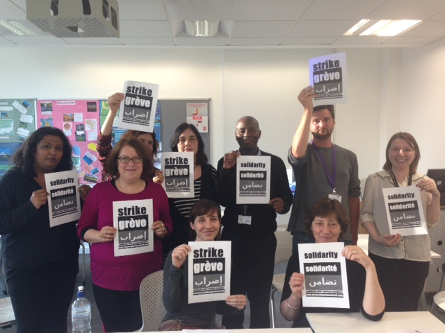 Members of the UCU lecturers' union committee at Westminster Kingsway college in London send a solidarity message