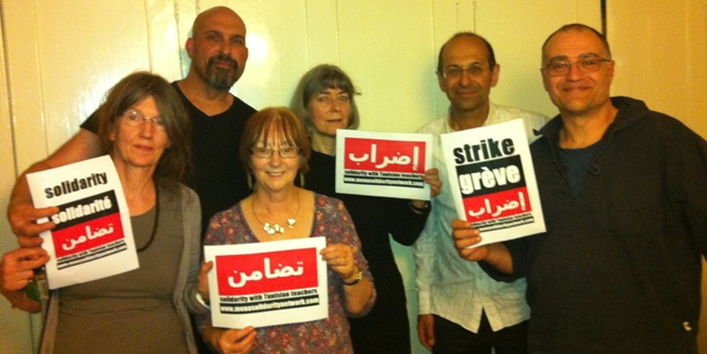 Sasha Simic, Amanda Sebesteyn, Kambiz Boomla, Simon Assaf, Maggie Falshaw and Anna Livingstone (from top right) who visited the World Social Forum in Tunis at the end of March, sending a message of solidarity to Tunisian teachers for their strikes on 17 and 25 April