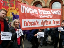 Trade unionists in Manchester send solidarity from their May Day march to victimised trade union activists at Ideal Standard Egypt