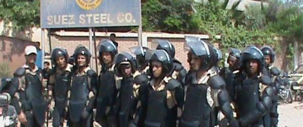 Riot police surround Suez Steel factory as army arrests strike leaders 12 August 2013 via RevSoc.me on Facebook