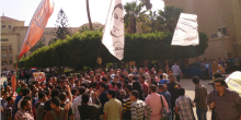 Students protest outside the Faculty of Engineering, Alexandria University - picture via revsoc.me