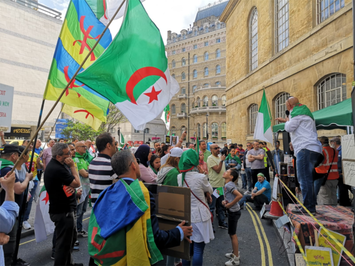 Protesters gather at the Algerian embassy in London, 22 June