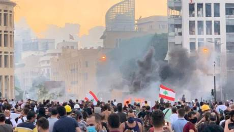 Protest in Martyrs' Square, Beirut 8 August 2020 - picture Tamim al-Masarif via Facebook